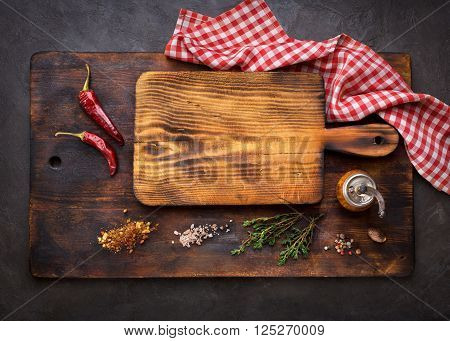 Cutting Boards and Spice for cooking. Food background with copyspace. Top view