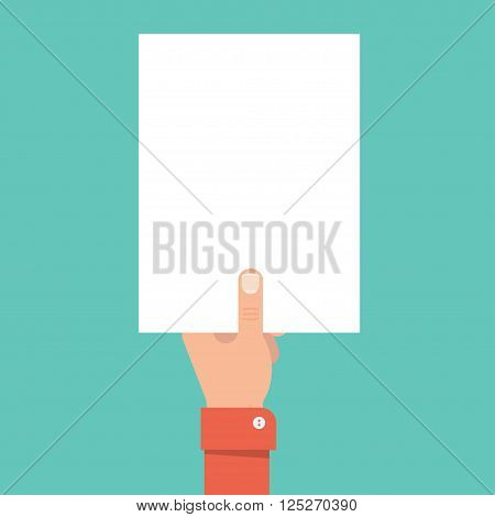 Hand holding a blank sheet of paper. Template blank sheet of paper. Mockup A4 blank sheet. Hand with sheet without text. Empty sheet for ad warning. Sheet of paper with place for text.