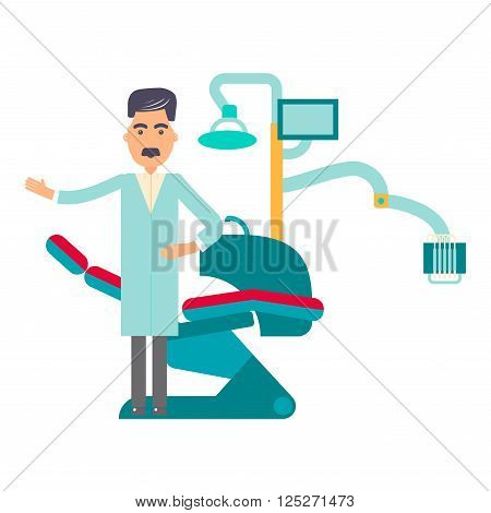 Flat dentist workplace with dentist chair and instruments