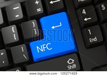Concepts of NFC, with a NFC on Blue Enter Button on Computer Keyboard. NFC Concept. PC Keyboard with NFC on Blue Enter Button Background, Selected Focus. 3D Illustration.