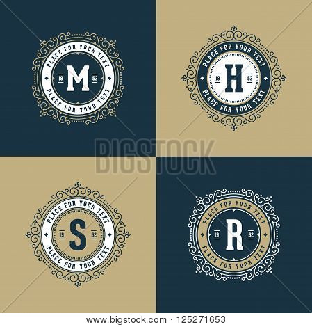 Set of monogram logo template with elegant ornament frames. Design with letter for cafe, shop, store, restaurant, boutique, hotel, heraldic, fashion. Vector illustration.