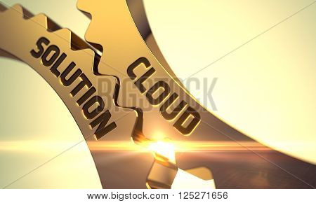 Cloud Solution on Mechanism of Golden Metallic Cog Gears with Glow Effect. Cloud Solution Golden Metallic Gears. Cloud Solution on Mechanism of Golden Metallic Cogwheels. 3D.