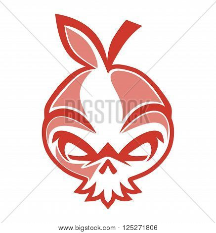 design skulls shaped onion fruit with leaves