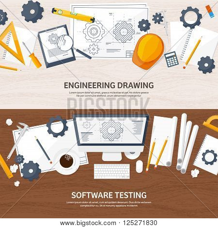 Vector illustration. Engineering and architecture. Computer. Drawing, construction.  Architectural project. Design, sketching. Workspace with tools. Planning and building. Wooden background.