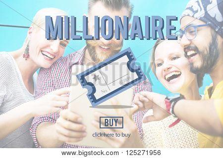 Millionaire Prize Ticket Lottery Concept
