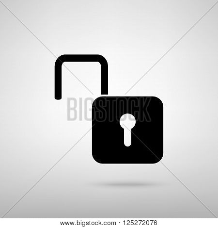 Unlock sign. Black with shadow on gray.