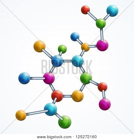 Abstract molecule with colorful particles. Vector illustration. Atoms. Medical multicolor design element  for banner or flyer isolated on white.
