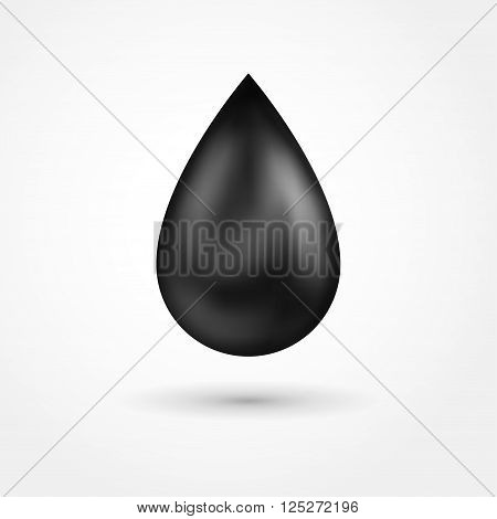 Black shiny drop of oil. Petroleum icon isolated on white. Vector illustration.
