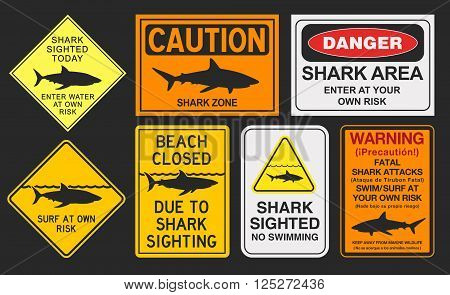 Vector illustration of different shark warning signs