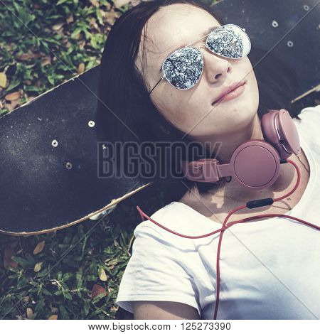Skateboard Relaxation Rest Lying Chill Headphone Concept