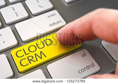 Selective Focus on the Cloud CRM Keypad. Hand Touching Cloud CRM Button. Man Finger Pushing Yellow Cloud CRM Button on Modern Keyboard. Finger Pushing Cloud CRM Button on Slim Aluminum Keyboard. 3D.