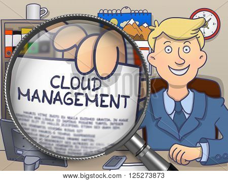 Businessman Holding a Paper with Concept Cloud Management. Closeup View through Magnifying Glass. Multicolor Doodle Style Illustration.
