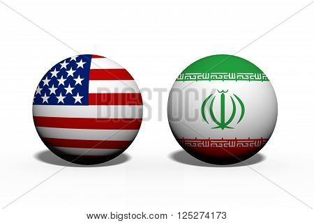 The United States of America and Iran working together, Two globes with a flag of the United States and Iran isolated on white