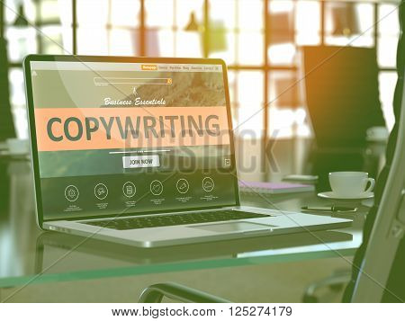 Modern Workplace with Laptop showing Landing Page with Copywriting Concept. Toned Image with Selective Focus. 3D Render.