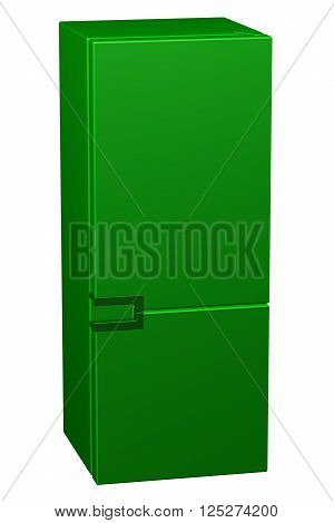 Green refrigerator isolated on white background. 3D rendering.