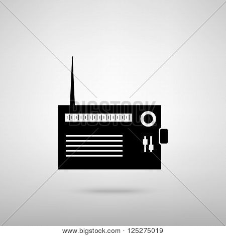 Radio sign. Black with shadow on gray.