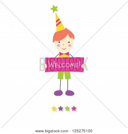 little red haired boy in green and yellow outfit and birthday hat holding a welcome sign with stars on white background