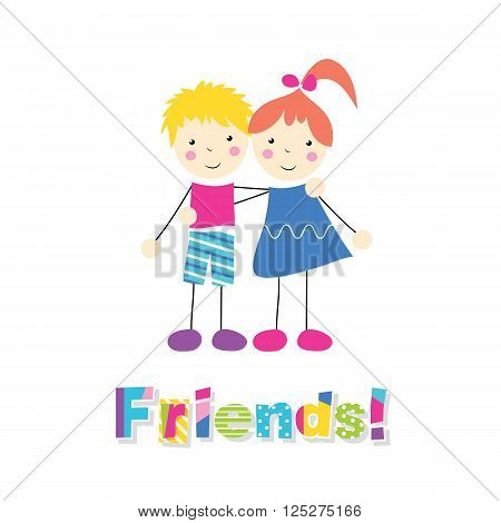 little red haired girl in a blue dress and blonde boy in pink and blue outfit holding arms around each other with letters friends on white background