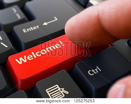 Computer User Presses Red Button Welcome on Black Keyboard. Closeup View. Blurred Background. 3D Render.