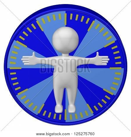 Concept: man-hour. 3d Man and clock face. Isolated on white background. 3D rendering.