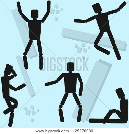 Human Body Mannequin Wooden Dummy Doll Different Poses Flat Vector Illustration