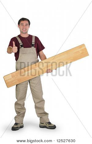 Smiling parquet layer with a raised thumb holding a board on a white background