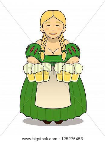 Logo - cute cartoon blonde girl in traditional dress with beer mugs. Oktoberfest or St.Patrick 's Day. Tavern, pub, bar, festival.