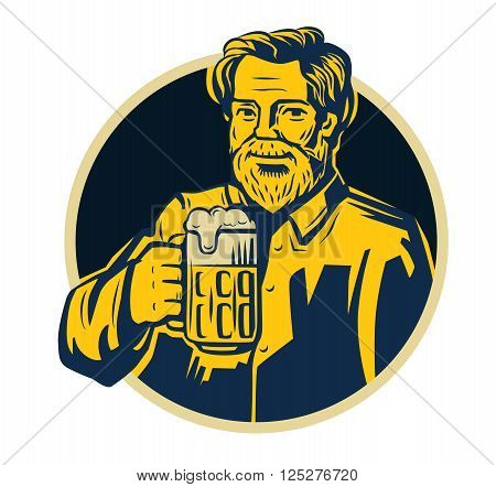 vector color symbol of man with beer