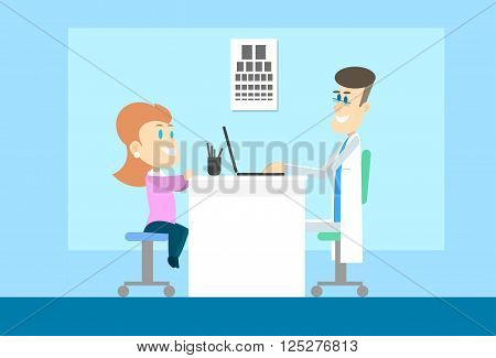 Woman Visit Oculist Ophthalmologist Doctor Office Hospital Checkup Vector Illustration