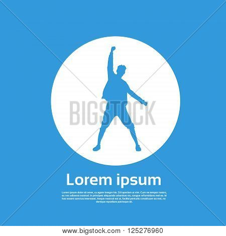 Traveler Icon Posing Hand Up Logo Hiker Trekker Empty Copy Space Vector Illustration
