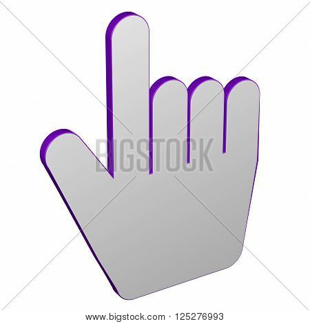 Hand cursor isolated on white background. 3D rendering.
