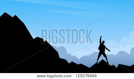 Traveler Stand Mountain Top Nature Background Empty Copy Space Vector Illustration