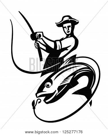 vector black fisherman icon on white background