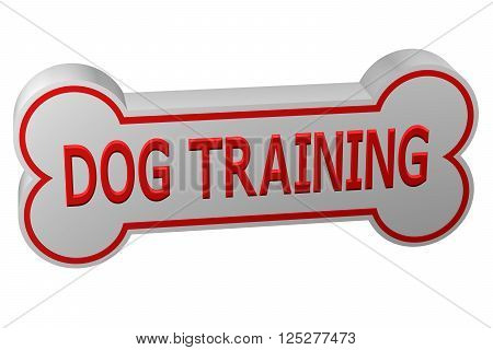Concept: dog training. Dog bone with words - dog training., isolated on white background. 3D rendering.