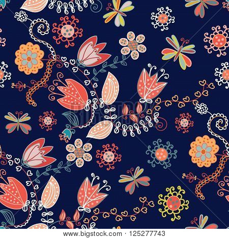 Ornamental floral seamless pattern for textile or card - vector illustration