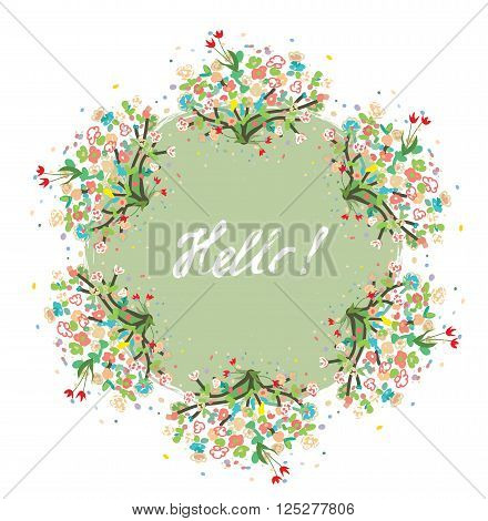 Hello floral background for spring or summer card - nice design of vector illustration