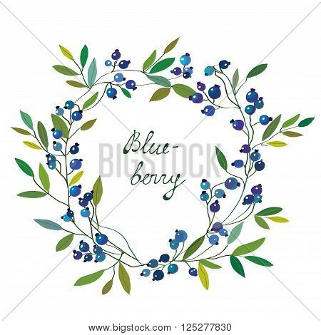 Blueberry frame with leaves - graphic vector illustration with nice design