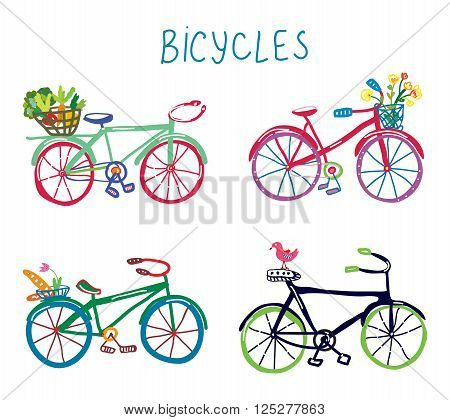Bicycles funny romantic set with flowers and bird - cute design of vector illustration