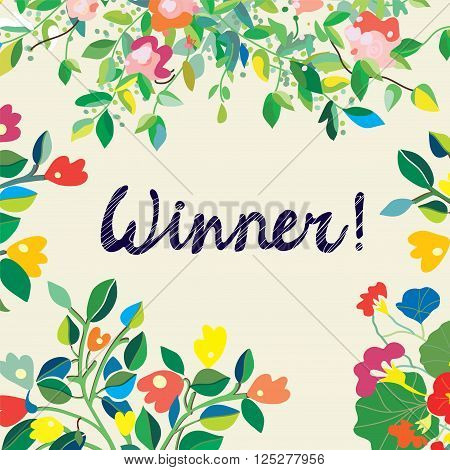 Background for the winner certificate with floral background - nice design vector illustration