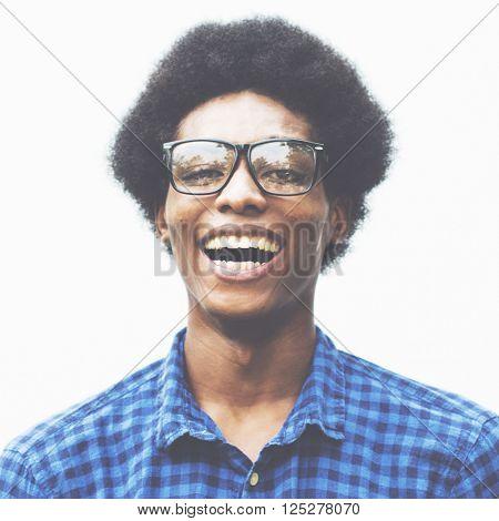 Man Posing Portrait Fashionable Nerd Concept
