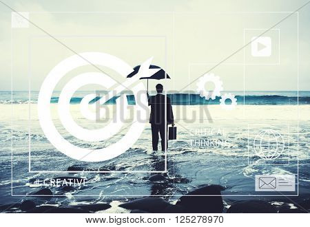 Lonely Businessman Alone in the Beach