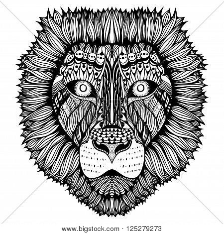 Zentangle stylized Tiger face. Hand Drawn doodle vector illustration isolated on white background. Sketch for tattoo or indian makhenda design.