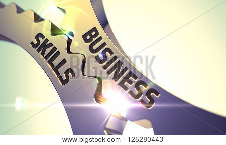 Business Skills on the Mechanism of Golden Cog Gears with Lens Flare. Business Skills - Industrial Design. Business Skills Golden Metallic Cogwheels. Business Skills - Concept. 3D Render.