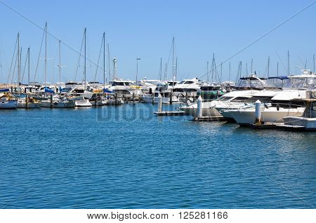 HILLARYS,WA,AUSTRALIA-JANUARY 22,2016: Yachts in the Marina at Hillarys Boat Harbour in Hillarys, Western Australia.