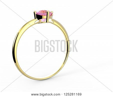 Wedding ring from gold with diamond isolated on white background. Sign of love. Fashion jewelery. 3D illustration