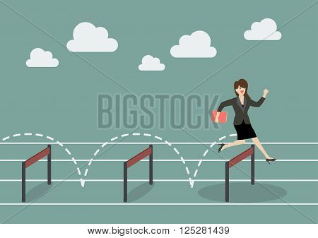 Business woman jumping over hurdle. Business concept