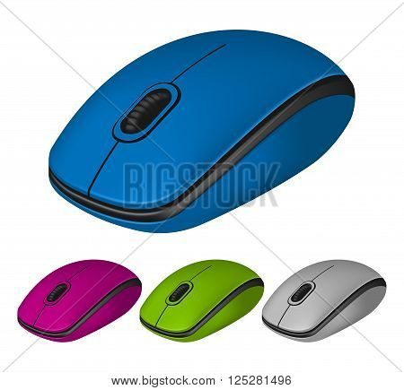 Set of photorealistic computer mouse in different color