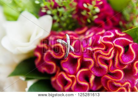 Pair of golden wedding rings inside a bouquetl. Bride's traditional symbolic accessory. Floral composition with red celosia flowers.