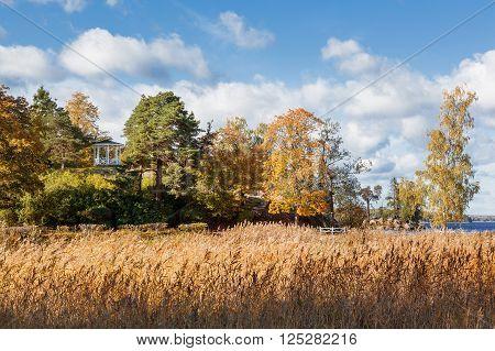 Mon Repos park in Vyborg. Russia. Autumn landscape in sunny day.