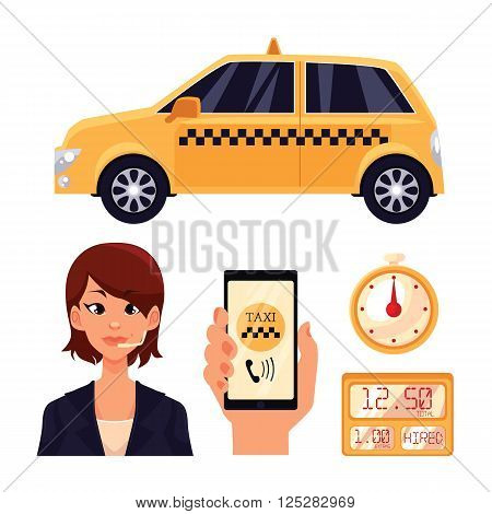 Icons on the transport of the city, a yellow taxi car with swords, girl dispetchet, vector objects isolated, hand holding a phone with the taxi app timer in a taxi cab, transportation of people in car